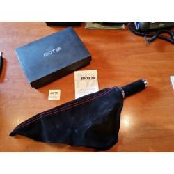 05056  Cuffia in pelle leva freno a mano nera - Grigio