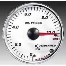 Manometro Pressione OLIO Metrika - 52 mm Bianco