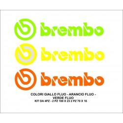 Adesivi brembo per pinze auto moto 4 pz colore fluo a richiesta