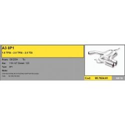 Scarico sportivo per audi A3 8p1 2x76mm golf gti
