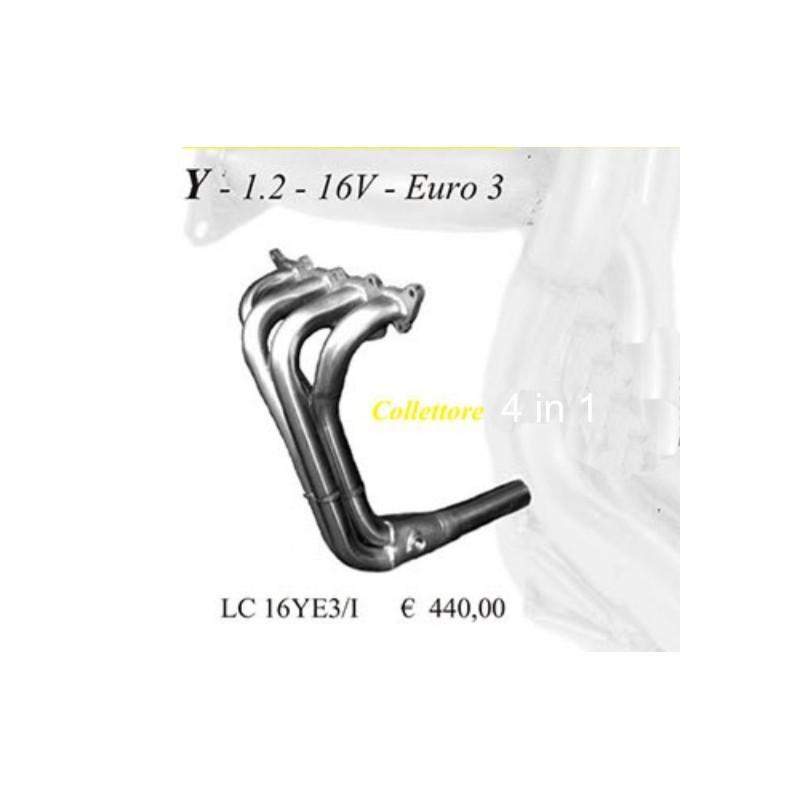 Collettore lancia y 1200 16v euro 3 4 IN 1 ACCIAIO